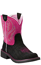 Ariat Fatbaby Women's Black Gator Print with Pink Top Western Boot