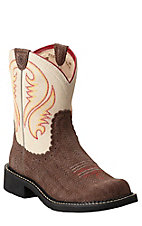 Ariat Fatbaby Women's Espresso Brown Basket Weave Print with Bone Top Western Boot