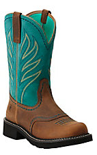 Ariat Probaby Flame Women's Distressed Brown w/ Turquoise Top Round Toe Western Boot