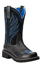 Ariat Probaby Flame Women's Black Deertan with Turquoise Stitch Round Toe Western Boot