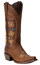 Ariat New West Women's Sundance Weathered Brown with Floral Embroidery Snip Toe Western Boots