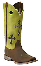 Ariat Youth Ranchero Powder Brown with Lime Cross Top Square Toe Western Boots