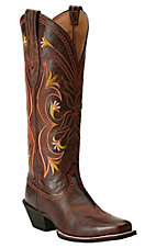 Ariat Lantana Women's Sassy Brown Embroidered Tall Punchy Square Toe Western Boots