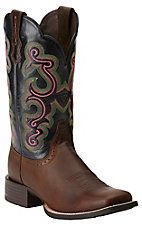 Ariat Women's Distressed Brown with Black Top Quickdraw Square Toe Western Boot