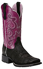 Ariat Quickdraw Women's Black Buffed Gator Print w/ Fig Top Square Toe Western Boots