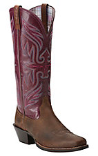 Ariat Women's Earth Brown with Fig Top Round Up Buckaroo Punchy Square Toe Western Boots