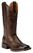 Ariat Women's Cassidy Mahogany with Weathered Buckskin Top Square Toe Western Boot