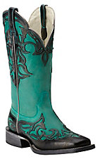 Ariat Women's Cassidy Supple Turquoise with Glazed Midnight Overlay Square Toe Western Boot
