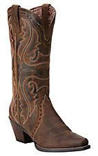 Ariat Women's Distressed Brown Heritage Snip Toe Western Boots