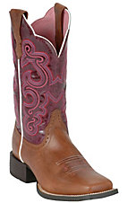 Ariat® Ladies Red Oak Shoulder Quantum Brander w/ Fig Top Square Toe Western Boots