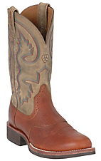 Ariat® Cobalt Quantum™ Men's Red Oak & Brown Bomber Crepe Sole Boots