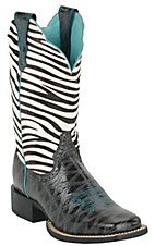 Ariat Ladies Black Anteater Print Quickdraw w/ Zebra Top Square Toe Western Boot