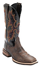 Ariat Tombstone Men's Thunder Brown with Black Patent Top Square Toe Western Boot