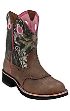 Ariat® Ladies Distressed Brown w/ Mossy Oak Camo Top Cowgirl Fatbaby Western Boot