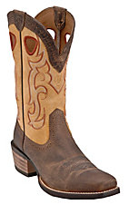 Ariat Rawhide Men's Earth Brown with Seashell Square Toe Western Boot