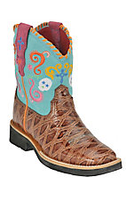 XEMAriat® Youth Brown Waxy Anteater Print w/Turq Top Showbaby Square Toe Western Boots