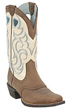 Ariat Ladies Earth Rawhide w/ Cream Top Punchy Square Toe Western Boot