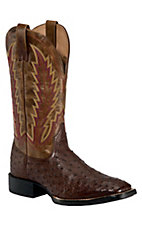 XEMAriat Quantum Brander Mens Tobacco Brown Full Quill Ostrich Exotic Square Toe Boot