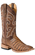 Ariat® Latigo™ Mens Antique Pecan Brown Caiman Gator Belly Exotic Square Toe Boots