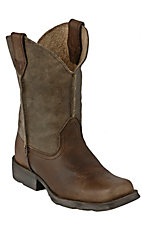 Ariat® Rambler™ Children's Brown Earth Bomber Square Toe Western Boots