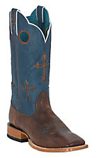 Ariat Ranchero Mens Brown w/ Crosses on Blue Top Square Toe Western Boot