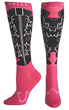 Ariat® Women's Pink and Black Western Boot Knee High Socks
