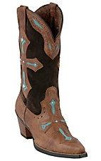 Ariat® Heavenly™ Ladies Brown w/ Turquoise Inlayed Cross Snip Toe Western Boots