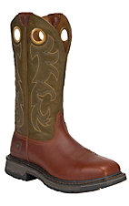 Ariat Workhog Men's Rust w/ OliveTop Square Steel Toe Western Work Boot