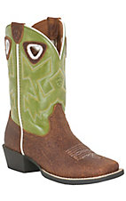 Ariat® Charger™ Youth Cognac Brown w/ Raptor Green Top Square Toe Western Boots
