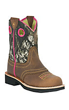 Ariat® Fatbaby™ Children's Roughed Brown Mossy Oak Camo Top Pink Stitch Western Boot