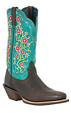 Ariat® Uptown™ Ladies Chocolate Brown Aqua Floral Top Punchy Square Toe Western Boot