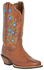 Ariat® Uptown™ Ladies Brown Floral Embroidered Punchy Square Toe Western Boot
