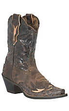 Ariat Ladies Dahlia Distressed Brown w/Floral Black/Brown Top Snip Toe Western Boot