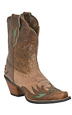 Ariat Ladies Dahlia Distressed Brown Floral Embossed Snip Toe Western Boot