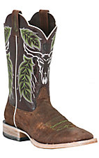 Ariat Outlaw Men's Distressed Brown Embroidered Triple Welt Square Toe Western Boot