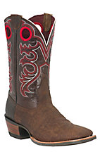 Ariat Crossfire Men's Weathered Brown with Red Stitch Wide Square Toe Western Boots