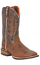 Ariat Hot Iron Men's Brown w/ Embossed Top Double Welt Square Toe Western Boots
