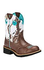Ariat Fatbaby Cowgirl Ladies Brown Crinkle w/ Snowflake Camo Top Western Boot