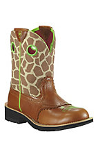 Ariat® Fatbaby Cowgirl™ Ladies Coyote Brown w/ Giraffe Print Top Western Boots