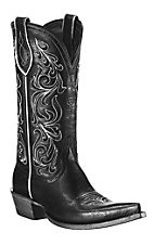 Ariat® Palacio™ Ladies Black w/ Ornate White Embroidery Pointed Toe Western Boot