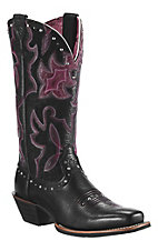 Ariat® Runaway™ Ladies Black Deertan w/Purple Fig Overlay & Studs Square Toe Boots