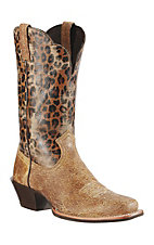 Ariat® Legend™ Ladies Shattered Tan w/ Leopard Print Top Square Toe Western Boots