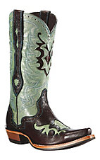 Ariat® Rienda™ Ladie's Chocolate & Rodeo Teal Overlay Snip Toe Western Boots