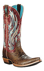 Ariat® Presidio™ Ladies Washed Out Brown w/ Red Rose Top Pointed Toe Western Boot