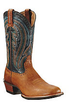 Ariat® Ricochet™ Men's Picket Tan w/ Dark Turquoise Round Toe Western Boots