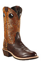 Ariat®Heritage Roughstock™ Mens Washed Brown w/Dry Leaf Tan Round Toe Western Boot