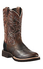 Ariat Mens Brown Oiled Rowdy w/Brown Crunch Top Heritage Crepe Sole Round Toe Boot