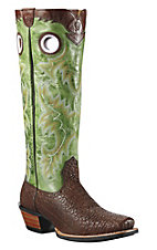 Ariat® Brushrider™ Mens Brown Bull w/ Green Glaze Top Double Welt Punchy Square Toe Buckaroo Boots