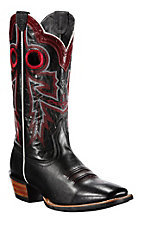 Ariat® Wildstock™ Men's Black with Red Stitch Double Welt Square Toe Western Boots