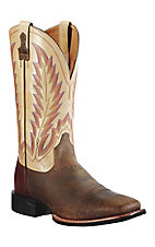 Ariat® Quantum Brander™ Men's Distressed Brown w/ Cream Top Square Toe Western Boots